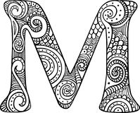 Illustrated letter M. Hand drawn capital letter M in black - coloring sheet for adults stock illustration