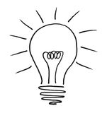 Illustrated Lightbulb. Illustrated light bulb on white background Stock Photo