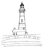 Illustrated lighthouse Royalty Free Stock Images