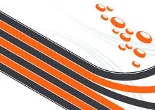 Illustrated lines and discs. Illustration of orange and black lines and dimensional discs Royalty Free Stock Photos