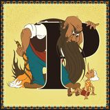 Children book cartoon fairytale alphabet. Letter P. The Adventures of Pinocchio by Carlo Collodi Royalty Free Stock Photo
