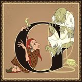 Children book cartoon fairytale alphabet. Letter G. Scrooge and Marley`s ghost. A Christmas Carol by Charles Dickens Stock Images