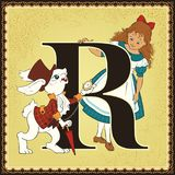 Children book cartoon fairytale alphabet. Letter R. Alice and White Rabbit. Alice's Adventures in Wonderland by Lewis Carroll Royalty Free Stock Photography