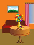 Illustrated living room. Colorful illustration of a living room with furniture Royalty Free Stock Photography
