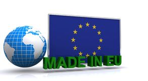 Made in EU sign. An illustrated made in EU sign with the EU flag and a globe on a white background Stock Photography