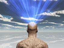Illustrated Man. Man covered in text with light radiating from mind Stock Photography