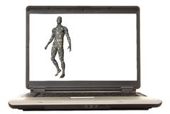 Illustrated Man Laptop Royalty Free Stock Photos
