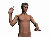 Illustrated man taking oath. Anatomically correct model of the human body, muscular man taking oath from front Stock Photo