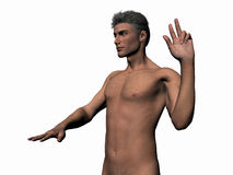 Illustrated man taking oath. Anatomically correct model of the human body, muscular man taking oath from left. Illustration over white Stock Photography