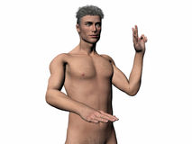 Illustrated man taking oath. Anatomically correct model of the human body, muscular man taking oath from right. Illustration over white Stock Photos