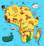Illustrated Map of Africa Royalty Free Stock Photo