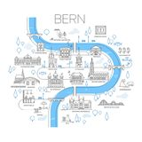 Illustrated map of Bern, Switzerland. Royalty Free Stock Image