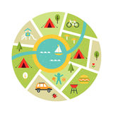 Illustrated Map of Campsite. Traveling, Camping and Outdoor Symbols. Illustrated Map of Campsite. Travelling, Camping and Oudoor Symbols. Vector Art Royalty Free Stock Photo