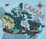 Illustrated map. Of Canada. Travel and attractions Stock Images