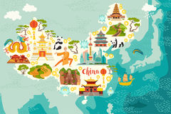 Illustrated map of China. Vector illustration for kid and children. Chinese travel landmarks. Asian abstract map royalty free illustration