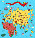 Illustrated Map of Europe, Asia and Africa Stock Images