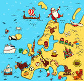 Illustrated Map of Europe Royalty Free Stock Photo