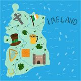 Illustrated map of Ireland national elements. vector illustration