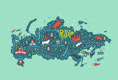 Free Illustrated Map Of Russia Royalty Free Stock Photos - 87998858