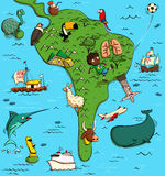 Illustrated Map of South America Royalty Free Stock Photography