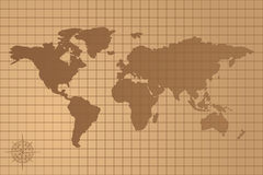 Illustrated map of the world with all continents Stock Photos
