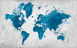 Illustrated map of the world on crumpled paper. White Horizontal background. Royalty Free Stock Photos
