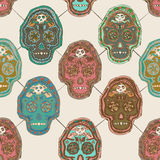 Illustrated Mexican Skull Seamless Pattern Design Royalty Free Stock Photos