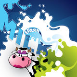 Illustrated milk banner. With comic cow stock illustration
