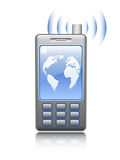 Illustrated mobile phone on white background. AI in additional format Royalty Free Stock Photo