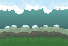 Illustrated Mountain Scene. Clouds, background, mountains and grass are all on separate layers. Actual illustration extends a little and is cropped via clipping stock illustration