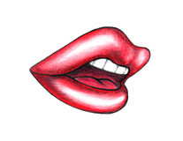Illustrated mouth with red lips Stock Photos