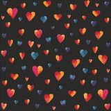 Multicolor hearts. Illustrated multicolor hearts on a black background Stock Images