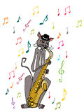 Illustrated musician cat Stock Image