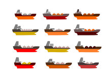 Illustrated oil ships set Stock Photography