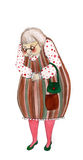 Illustrated old lady. Illustrated cute old lady with handbag Stock Photo