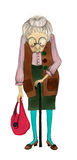 Illustrated old lady. Illustrated cute old lady with handbag Stock Images