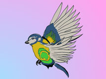 Illustrated parrot in cartoon style captured during flight on ba Royalty Free Stock Images