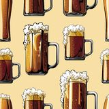 Illustrated pattern of beer mugs Royalty Free Stock Photography