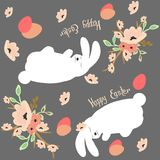 Illustrated pattern with `Happy Easter` phrase, aggs, spring flowersand easter bunny vector illustration