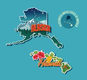 Illustrated pictorial map of Alaska and Hawaii. United States. Vector Illustration royalty free illustration