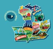 Illustrated pictorial map of Midwest United States. Includes Wisconsin, Michigan, Missouri, Illinois, Indiana, Kentucky and Ohio. Vector Illustration royalty free illustration
