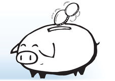 Illustrated piggy bank Stock Photography