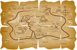 Illustrated pirate treasure map Stock Photography