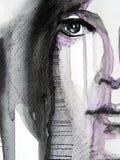 Illustrated portrait of beautiful girl Stock Image