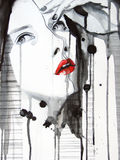 Illustrated portrait of beautiful girl stock illustration