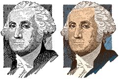 An Illustrated Portrait of George Washington. An illustrated portrait of the first president of the United States of America, George Washington vector illustration