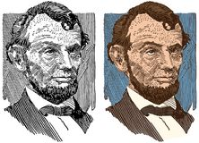 An Illustrated Portrait of Abraham Lincoln. An illustrated portrait of the 16th president of the United States, Abraham Lincoln Royalty Free Stock Photos