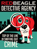 Illustrated poster of a Beagle dog. And fictitious detective agency advertisement Royalty Free Stock Images