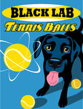 Illustrated poster of a black labrador retriever dog. Illustrated poster of a Black Lab dog and fictitious tennis ball brand advertisement Royalty Free Stock Photography