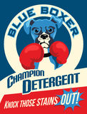 Illustrated poster of a Boxer dog. And fictitious laundry soap brand advertisement Stock Photo